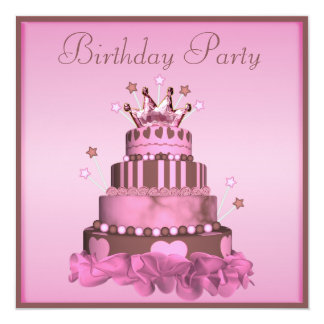 "Princess Cake Birthday Party 5.25"" Square Invitation Card"