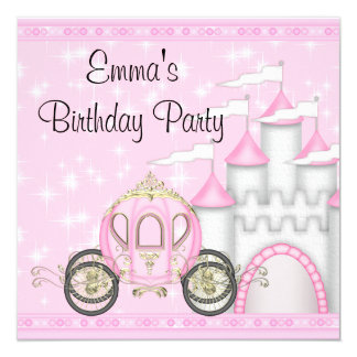 Princess Carriage Castle Girls Princess Birthday Card
