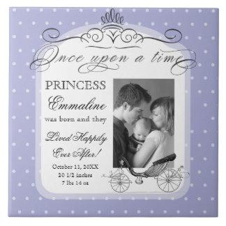 Princess Carriage Polka Dot Swirl Photo Baby Girl Tile