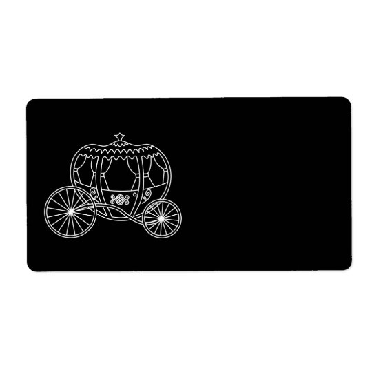 Princess Carriage, White on Black. Shipping Label