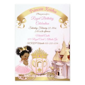 Princess Castle Carriage Pink Gold Girl Photo Card
