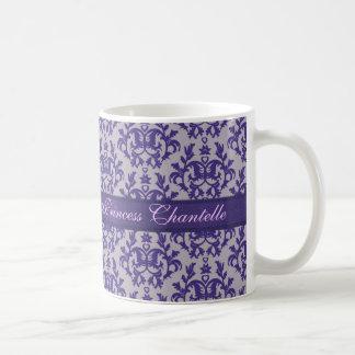 """""""Princess Chantelle"""" damask purple grey mug"""