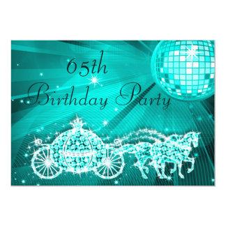 "Princess Coach & Horses & Disco Ball 65th Birthday 5"" X 7"" Invitation Card"