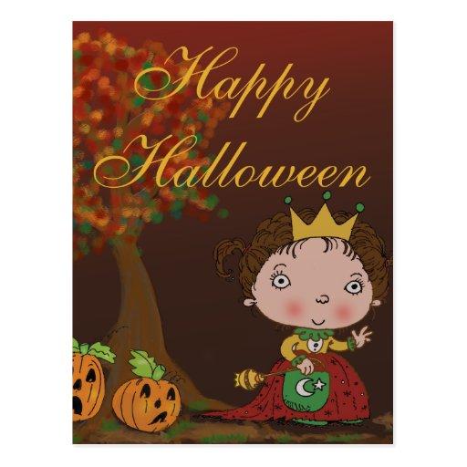 Princess Costume & Pumpkins Fall Halloween design Postcard