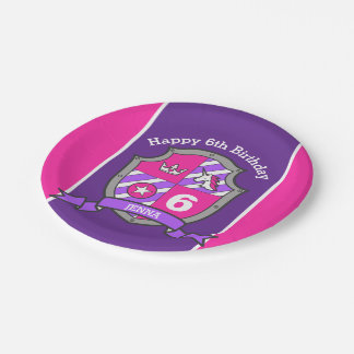 Princess crest 6th birthday pink party plate