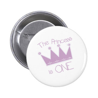Princess Crown 1st Birthday 2 Inch Round Button