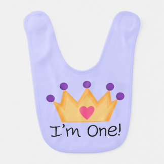 Princess Crown 1st Birthday Bib