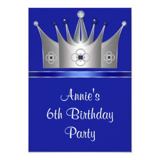Princess Crown 6th Birthday Party Invitation 6th
