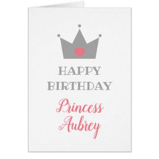 Princess Crown - Calligraphy Name - Happy Birthday Card