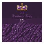 Princess Crown Heart & Zebra Glitter 21st Birthday