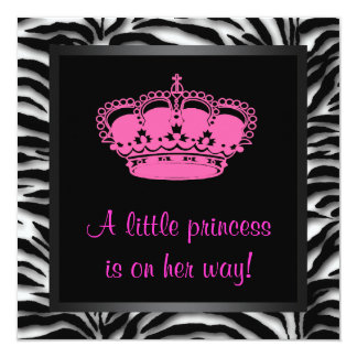 "Princess Crown Hot Pink Zebra Baby Girl Shower 5.25"" Square Invitation Card"