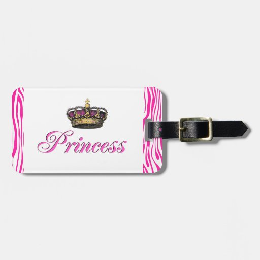 Princess crown in hot pink tags for luggage