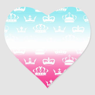 Princess crown pattern with gradient heart sticker