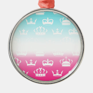 Princess crown pattern with gradient Silver-Colored round ornament