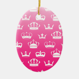 Princess crown pattern with pink gradient ceramic oval ornament