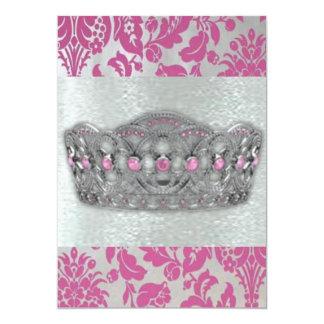 Princess Crown & Pink Damask Invitations