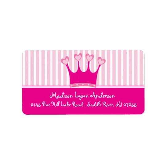 Princess Crown Return Address Labels.