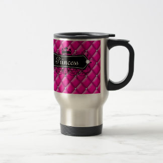 Princess Custom Name Coffee Travel Mug Pink Diamon
