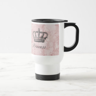 Princess Custom Name Coffee Travel Mug Pink Suede