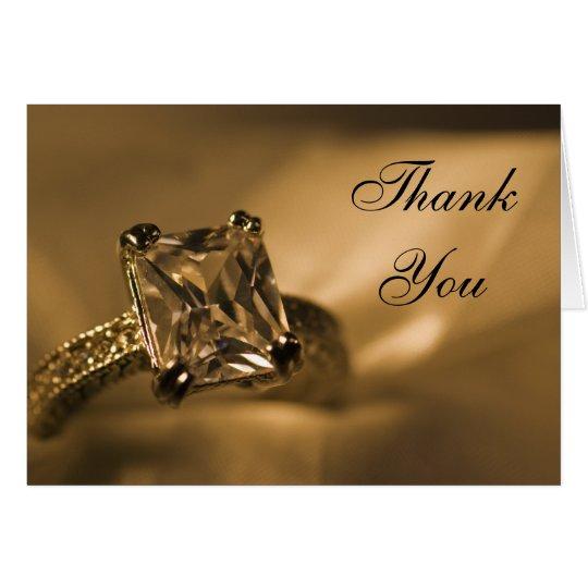Princess Cut Diamond Ring Wedding Thank You Card