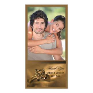 Princess Cut Diamond Ring Wedding Thank You Photo Picture Card