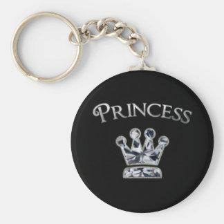Princess Diamond Crown Basic Round Button Keychain