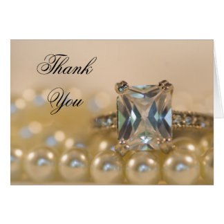 Princess Diamond Ring and Pearls Thank You Card
