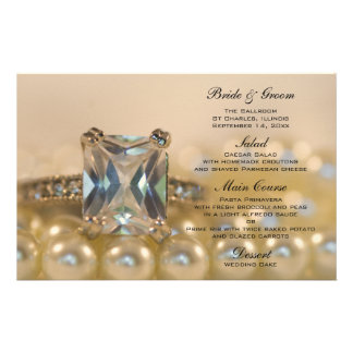 Princess Diamond Ring and Pearls Wedding Menu Stationery Design