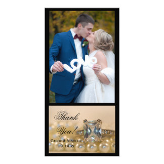 Princess Diamond Ring and Pearls Wedding Thank You Card