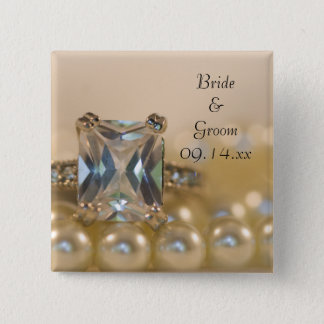 Princess Diamond Ring and White Pearls Wedding 2 Inch Square Button