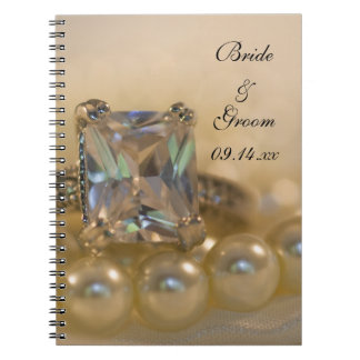 Princess Diamond Ring and White Pearls Wedding Notebooks