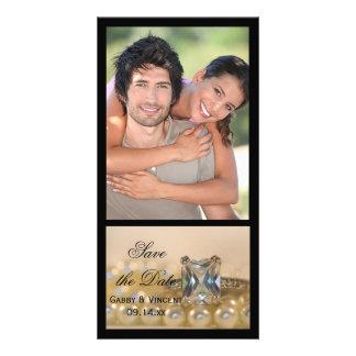 Princess Diamond Ring Pearls Wedding Save the Date Photo Card Template