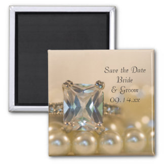 Princess Diamond Ring Pearls Wedding Save the Date Square Magnet