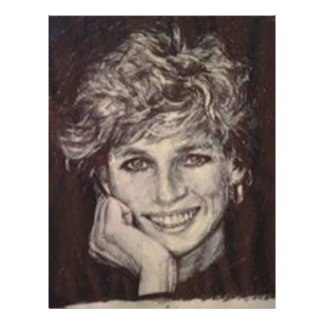 PRINCESS DIANA INK PEN PORTRAIT LETTERHEAD