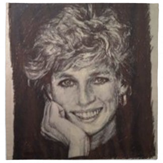 PRINCESS DIANA INK PEN PORTRAIT NAPKIN
