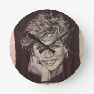 PRINCESS DIANA INK PEN PORTRAIT ROUND CLOCK