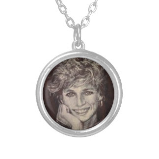 PRINCESS DIANA INK PEN PORTRAIT SILVER PLATED NECKLACE