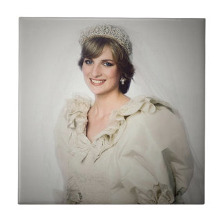 Princess Diana wedding portrait Tile
