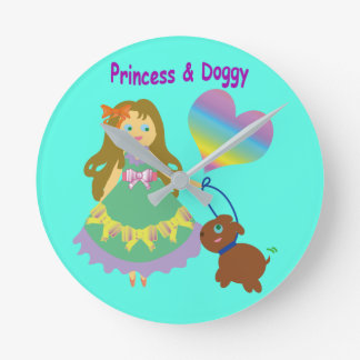 Princess & Doggy Round Clock
