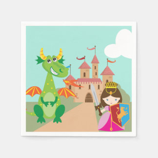 Princess Dragon and Knight Disposable Napkin