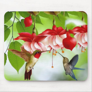 Princess Earrings Flower Hummingbirds Mouse Pad