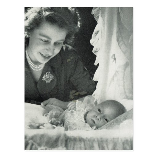 Princess Elizabeth with baby Prince Charles Post Card