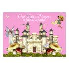 princess fairy castle invitation pink