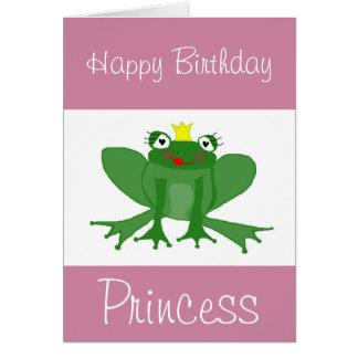 Princess Frog Birthday Card Customisable