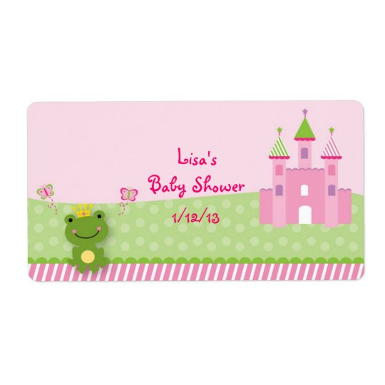 Princess Frog Castle Water Bottle Stickers Labels