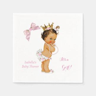 Princess Girl Baby Shower Pink Gold Crown Brunette Paper Napkins