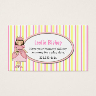 Princess Girl with Frog Striped Play Date Card
