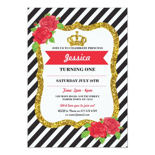 Princess Gold Crown Rose Birthday Tea Party Invite