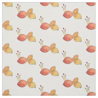 Princess Goldfish Girly Whimsy Watercolor Pattern Fabric