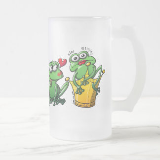 Princess is a Frog Now Frosted Glass Beer Mug